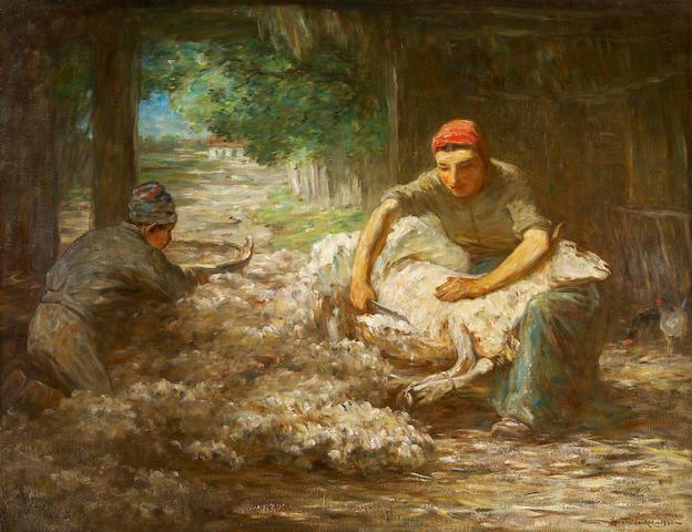 Horatio Walker, RCA,AWCS,RI,RSC,SAA (Canadian, 1858-1938) Sheep Shearing