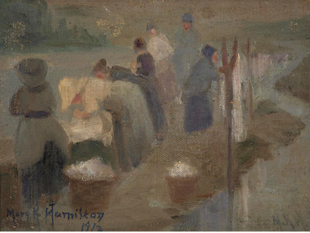 Mary Ritter Hamilton (Canadian, born circa 1873-1954) Wash day, France, Sketch