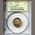 1883 5C with Cents MS66 PCGS