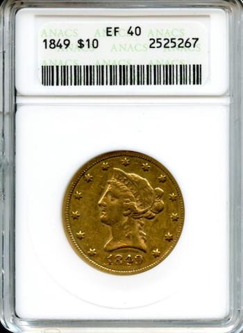 1849 $10 XF40 ANACS