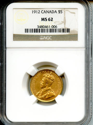 1912 $5 Canada Gold MS62 NGC