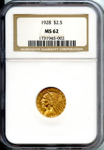 1928 $2.5 MS62 NGC