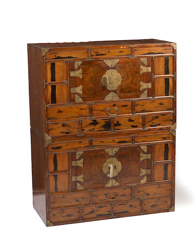 A Korean mixed wood chest-on-chest, yi chung nong