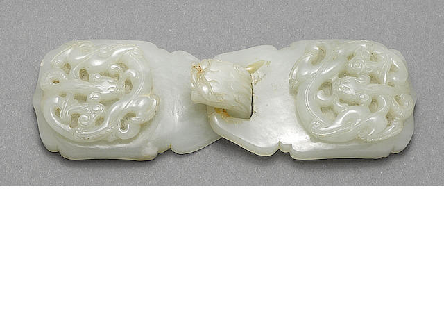 A pale greenish-white jade two-section belt buckle 18th century