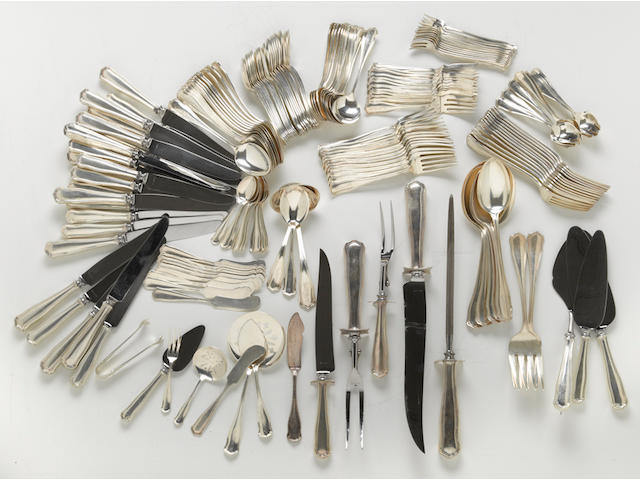 A sterling flatware set Shreve & Co., San Francisco, CA <br>Winchester, monogrammed: GEB