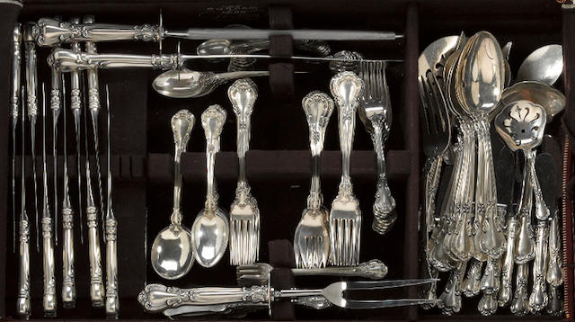 An assembled sterling flatware set, with case Gorham Mfg. Co., Providence, RI <br>Chantilly
