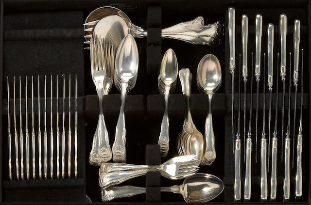 A sterling flatware set, with case sterling flatware set, with case S. Kirk & Son Co., Baltimore, MD <br>King, monogrammed: H