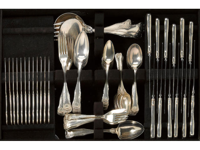 A sterling flatware set, with case S. Kirk & Son Co., Baltimore, MD  King, monogrammed: H