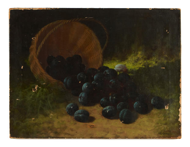 Carducius Plantagenet Ream (American, 1837-1917) A still life with plums 17 3/4 x 23 3/4in unframed