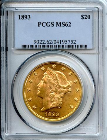 1893 $20 MS62 PCGS