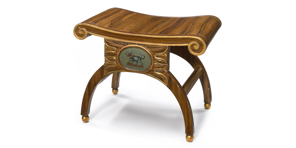 A Regency faux rosewood and parcel gilt stool