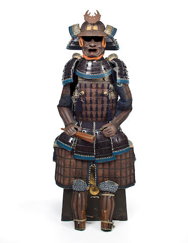 A russet-iron armor with a Myochin school helmet Helmet and maedate by Myochin Muneyoshi, late 19th century