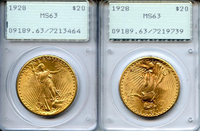 1928 $20 MS63 PCGS, 1st Generation Holder (2)