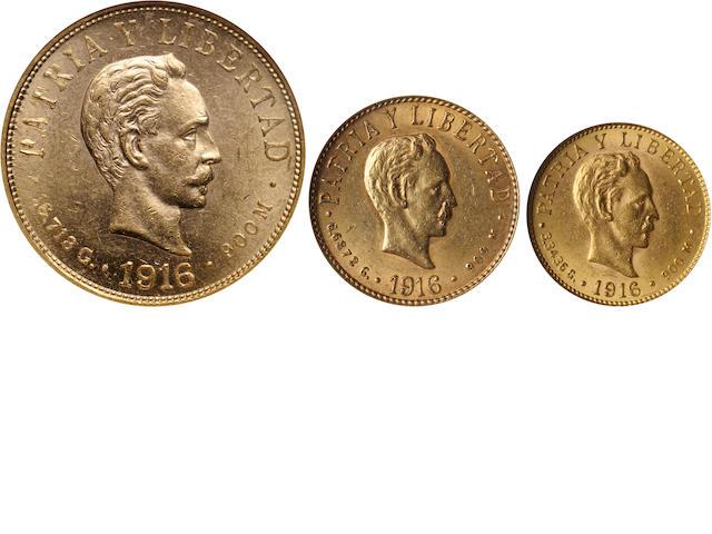 Cuba (3) Including 1916 Gold 2 Pesos MS62 NGC; 1916 Gold 10 Pesos MS60 NGC; 1916 Gold 4 Pesos AU58 NGC.