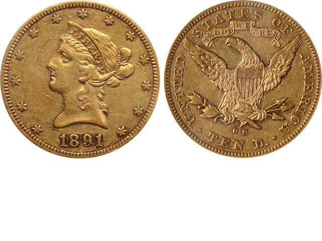 1891-CC $10 XF45 PCGS