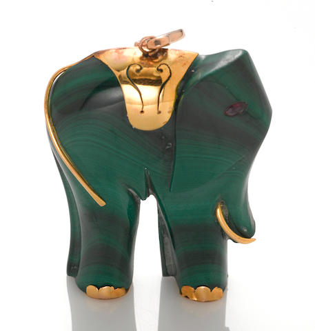 A malachite, ruby and 14k gold elephant pendant-enhancer