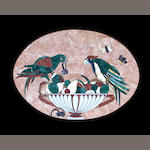 A Mexican pietra dura and wood oval plaque 1950's