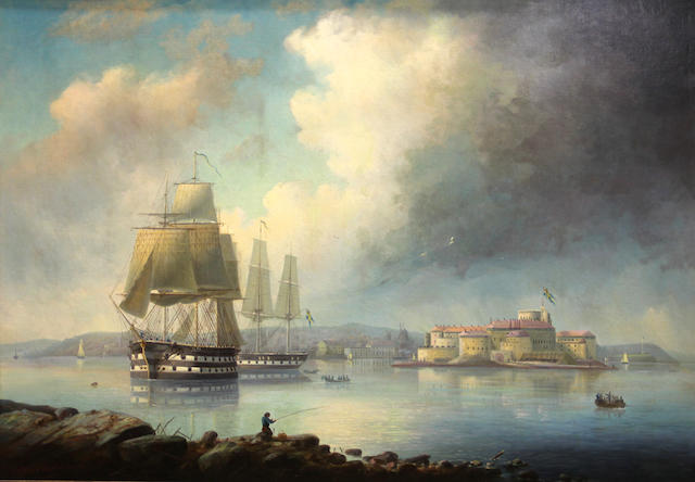 Alfred Wiström (Swedish, 1833-1873) Ships in a Swedish harbor with a castle beyond 39 x 55in