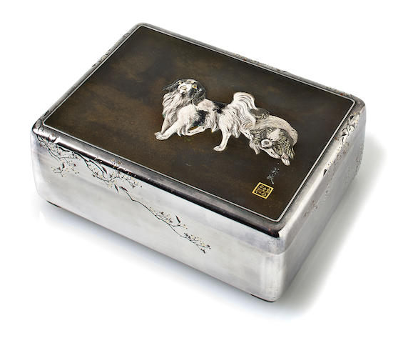 A Imperial presentation silver and mixed-metal tobacco box By Unno Bisei [Yoshimori II (1864-1919)]and Unno Shomin (1844-1915), late 19th century