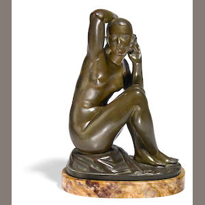 A patinated-bronze nude seated 'listening' maiden, G. Chauvel