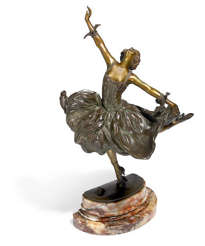 A Claire Colinet bronze dancer