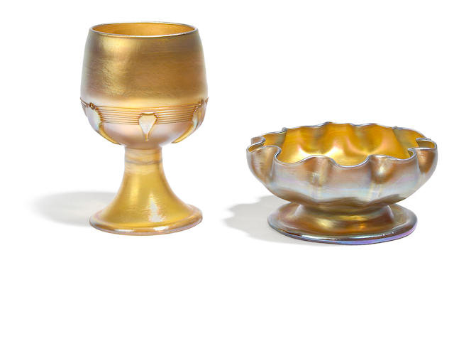 A Tiffany Studios Favrile glass goblet with applied pads and a ruffled bowl