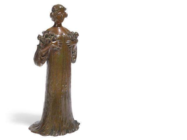 A V. Sabatier bronze of a robed maiden