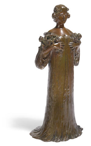 A V. Sabatier bronze of a robed maiden