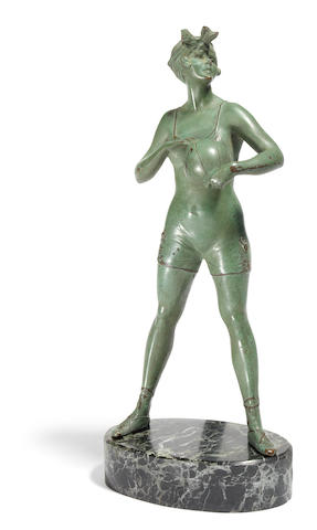 Bruno Zach green patinated bronze figure of a girl with a beach ball