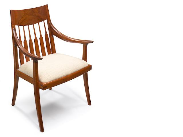 A John Nyquist prototype arm chair in mineralized Burmese teak  1974
