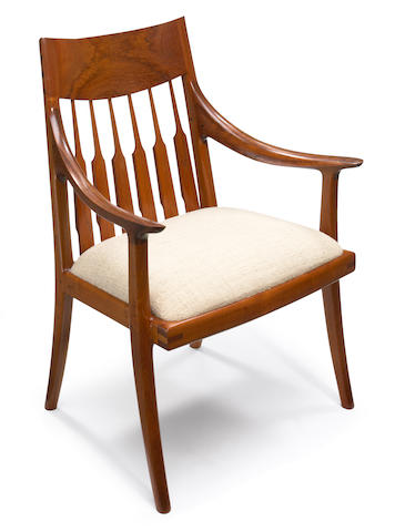 A John Nyquist prototype arm chair in mineralized Burmese teak  1974