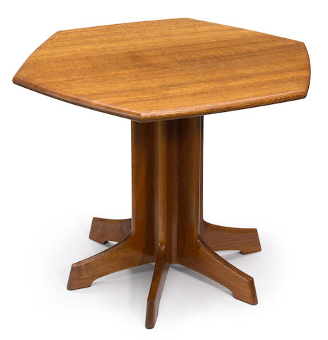 A John Nyquist English brown oak and black walnut six-sided pedestal table  1979
