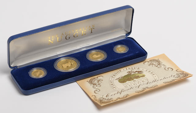 Australia 1986 Four Coin Proof Nugget Gold Set