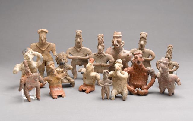 Fifteen West Mexican figures