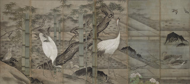 A large Japanese six panel screen