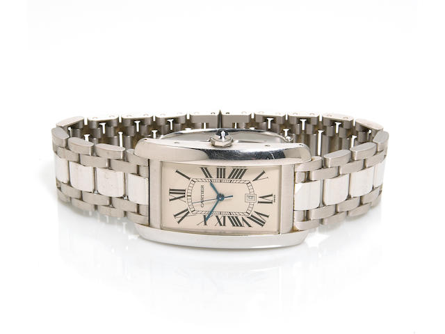 Cartier. An 18k white gold self-winding calendar bracelet wristwatch