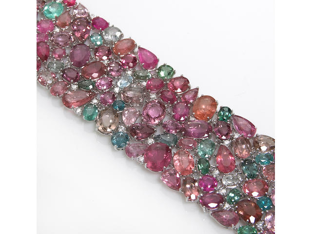 A multi-color tourmaline and diamond bracelet
