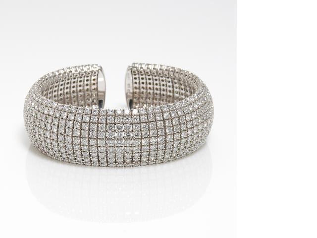 A diamond pavé-set wide cuff bracelet