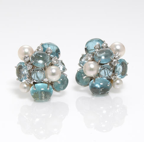 A pair of aquamarine, cultured pearl and diamond cluster earclips, Seaman Schepps
