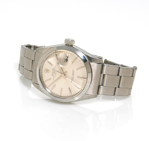 Rolex. A stainless steel automatic calendar bracelet wristwatch