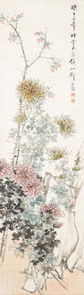 Deng Qichang (Qing dynasty) Chysanthemums & flowers