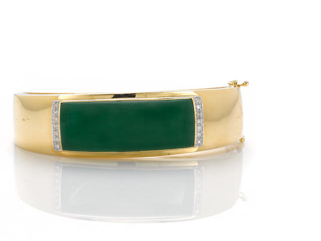 A jadeite jade and diamond bangle bracelet