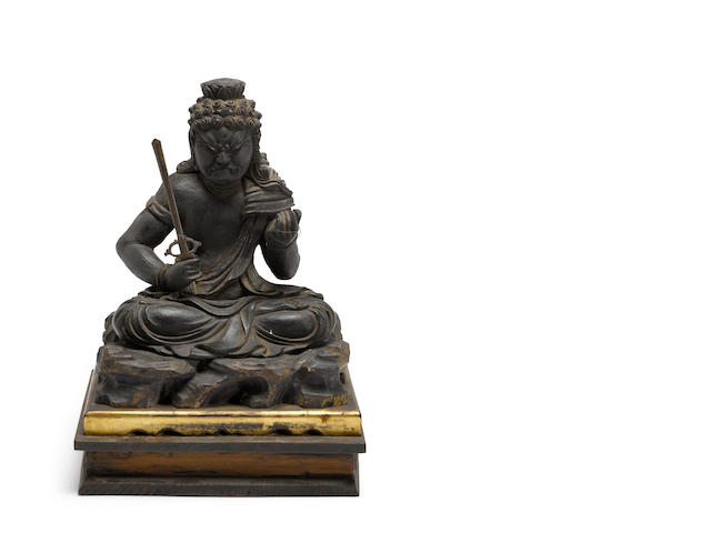 A black lacquer wood figure of Fudo-myoo xxth century