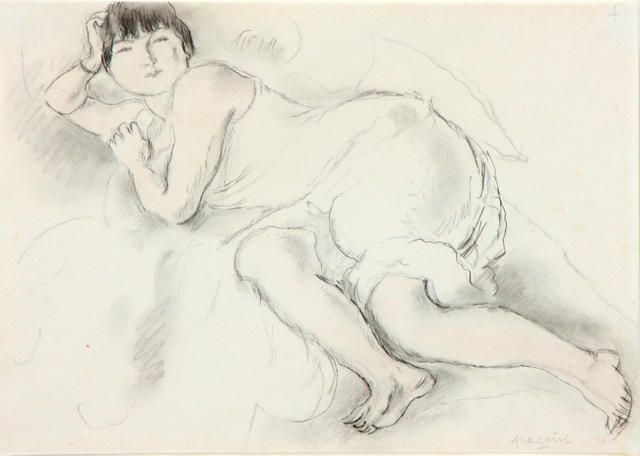 Jules Pascin (French, 1885-1930) Modèle allongé 8 1/2 x 11 3/4in