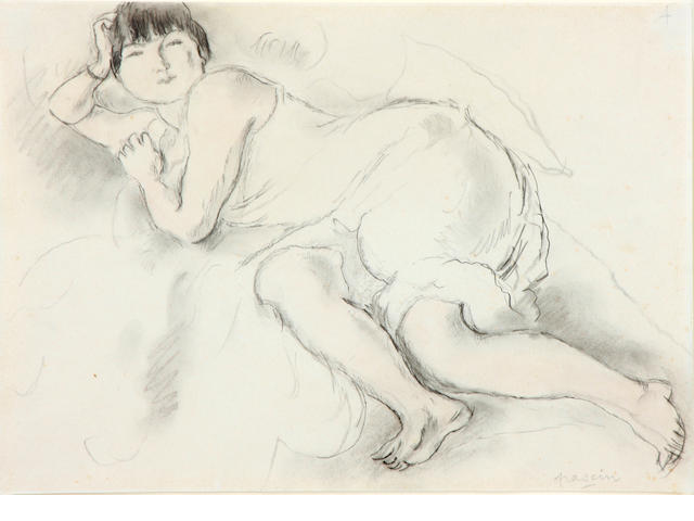 Jules Pascin, Modele allonge, signed lower left, charcoal and pencil on paper