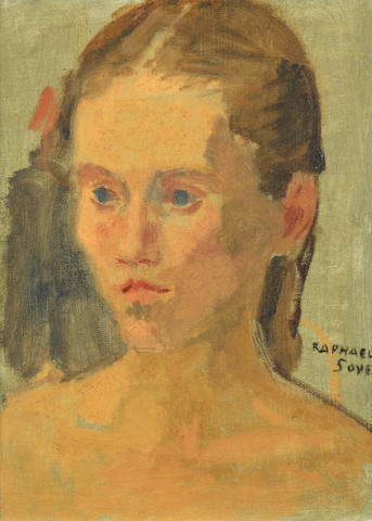 Raphael Soyer (American, 1881-1961) Portrait of a young girl 12 x 9in