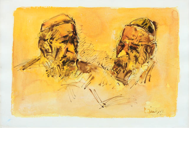 Chaim Gross, Portrait of two rabbis, 1961, signed and dated lower right, watercolor and graphite on paper