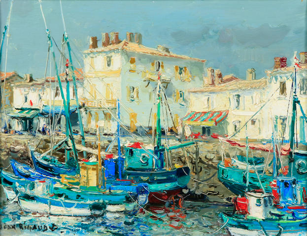 Jean Rigaud (French, 1912-1999) Harbor scene with boats 12 1/2 x 15 1/2in