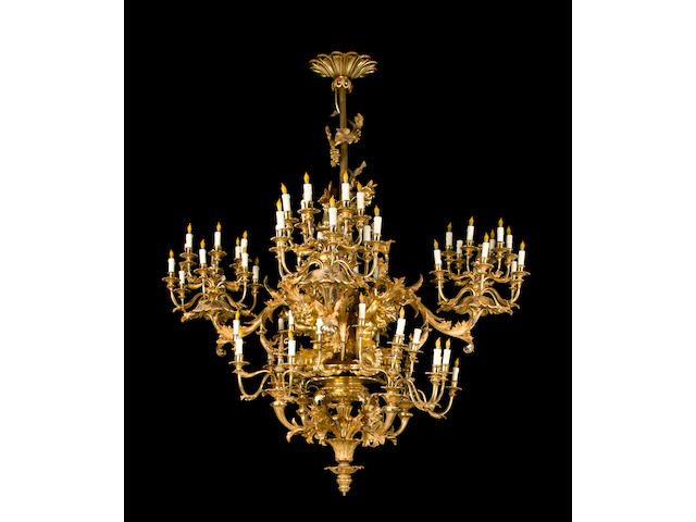 A fine French Rococo style giltwood chandelier<br>fourth quarter 19th century