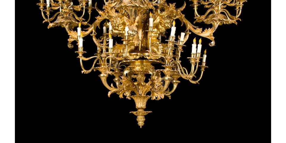 A very fine and impressive Italian Rococo Revival giltwood sixty-eight light chandelier mid 19th century